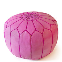 Jonathan Adler Leather Moroccan Pouf