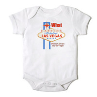 What Happens In Vegas Doesn't Always Stay in Vegas Funny Onesuit for the Baby