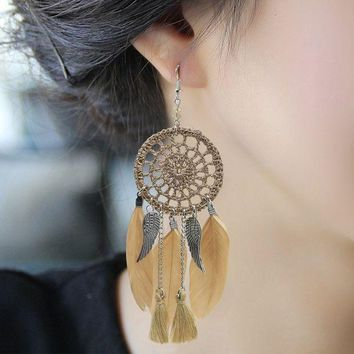 VLX2WL Earrings Feather Stylish Dream Catcher [11573014292]