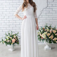 Ivory Spring Wedding Dress Half Sleeves Bridal Dress Custom Size 0 2 4 6 8 10