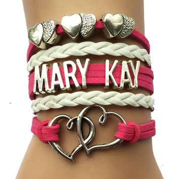 Mary Kay Heart Bracelet- Fuchsia Velvet Leather