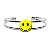Smile Smiley Face Silver Plated Metal Cuff Bracelet