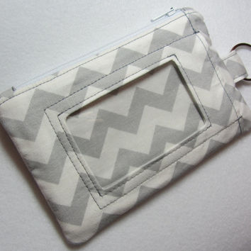 ID Wallet / ID Holder / Keychain Wallet / Keychain ID Wallet / Badge Holder / Coin Purse / Zip Pouch Gray Chevron - Other Colors Available!