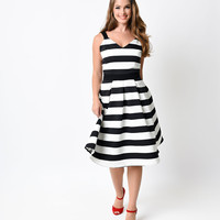 1950s Style Black & White Stripe Swing Dress