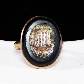 Victorian Pietra Dura Gold Ring, Antique Micro Mosaic Architectural Building, 9K - 10KYellow Gold Oval Picture Framed in Onyx, Vintage 1890s