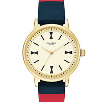 Kate Spade Crosby Bow Silicone Strap Watch Red/Navy ONE