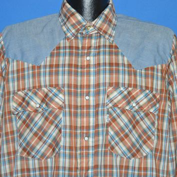 80s Levis Brown Blue Plaid Chambray Pearl Snap shirt Large