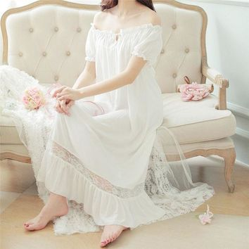 ESBONHS New Arrivals Summer Nightgowns O-neck Loose Ladies Dresses Princess Long Sleep Wear Solid Lace Home Dress Sexy Nightdress #HH10
