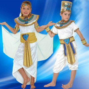 DCCKH6B Boy Girl Ancient Egypt Egyptian Pharaoh Cleopatra Prince Princess Costume for Children Kids Halloween Cosplay Costumes Clothing