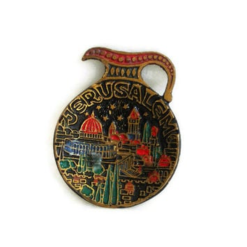 Vintage JUDAICA brass JERUSALEM wall hanging mini amphora footed tray 3D colorful ENAMELED - Israel collectible souvenir, Jewish wall art