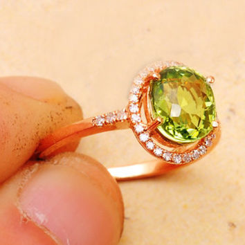 1.5 Carat Green Tourmaline Engagement Ring, Diamonds, 14K Rose Gold