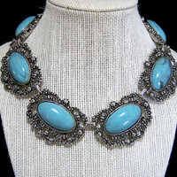 Faux Turquoise Cabochon Choker Necklace. Antiqued Silver Tone Necklace, Romantic Boho Necklace, Summer Vacation Fun Jewelry 617