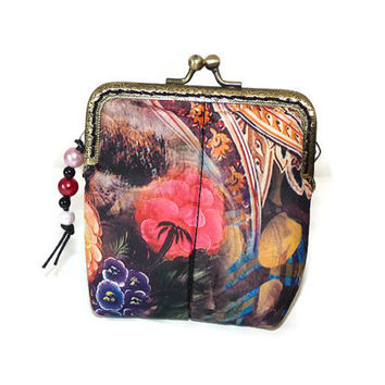 Metal Frame Coin Purse / Flowers Fabric Coin Purse / Brown Coin Purse / Little Pouch / Tampon holder / Card Holder