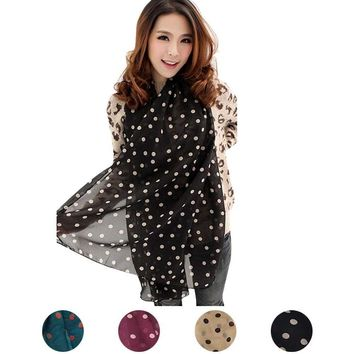 2017 Women's Autumn Winter Chiffon Scarves Polka Dot Scarf Pashmina Wraps Shawl Long Large Soft Stole Scarves All-match Bufanda