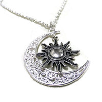 Silver Moon and Sun Necklace, Crescent Moon Necklace, Celestial Necklace, Boho Necklace, Pagan Necklace, Moon and Sun