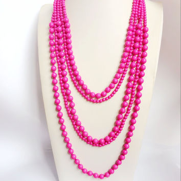 Five Layered Necklace, New Fashion Necklace, Beaded Hot Pink Necklace