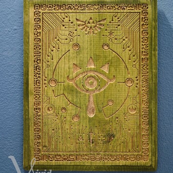 Legend of Zelda Breath of the wild Inspired Glow in the dark Sheikah Eye engraved wood plaque