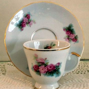 Set of 2 Demitasse Tea Cup and Saucer Peony