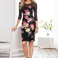 Mesh detail floral dress in the VENUS Line of Dresses for Women