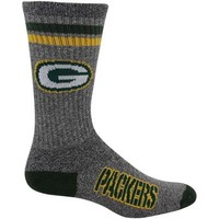 Green Bay Packers Marbled Two Stripe Crew Socks - Charcoal