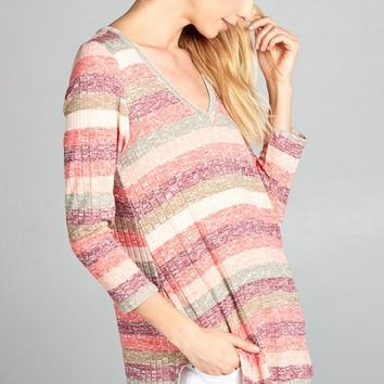 Ombre Striped V-Neck Tunic Top - Pink