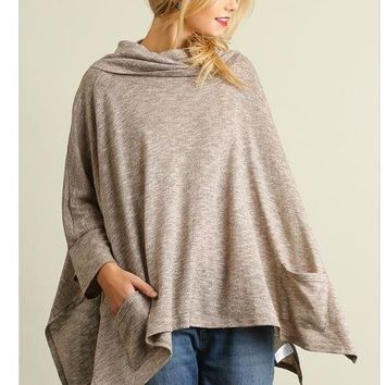 All Eyes On Me Mocha Brown Cowl Neck Pullover Poncho