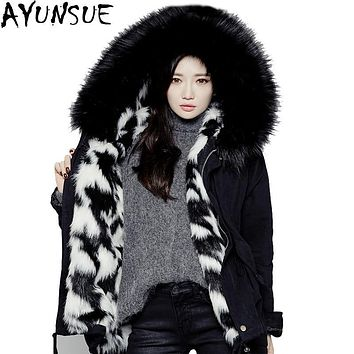 AYUNSUE Winter Jacket Women Thicken Warm Jackets 2016 Wool Liner Large Faux Fur Collar Parka Hooded Outerwear Female Coat  LX152