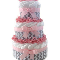 Diaper Cake, Gray Chevron, 3 Tier, your choice of color, baby Shower, centerpiece, decoration, nursery decor, chevron baby