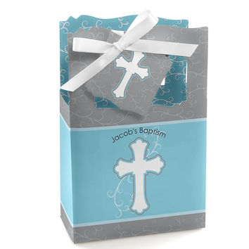 Little Miracle Boy Blue & Gray Cross - Personalized Baptism Favor Boxes