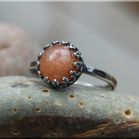 Oregon Sunstone Ring, Sunstone Cocktail Ring, Crown Bezel Set Ring, Sunstone Statement Ring, Oregon Sunstone Gemstone Engagement Ring
