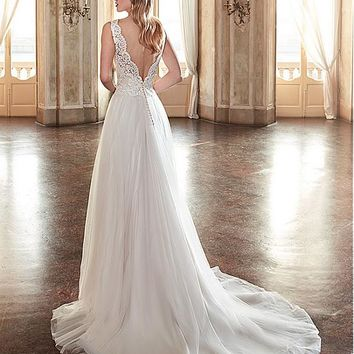 [145.99] Chic Tulle & Satin V-Neck A-Line Wedding Dresses With Beaded Lace Appliques - dressilyme.com