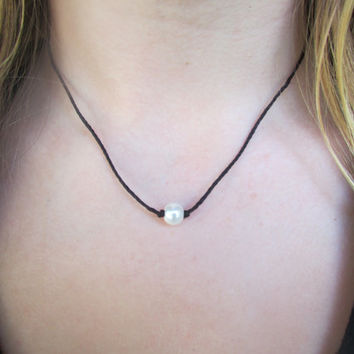 Simple Single Pearl Knotted Necklace - Dainty/Delicate Necklace