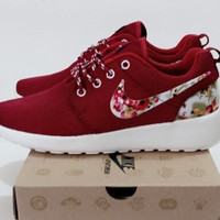 """NIKE"" Sports shoes fashion shoes comfortable cushion Ms. solid student with muffin Wine red"