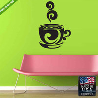 Wall Decal Mural Sticker Beautyfull Cute Coffe Cup Animals Bedroom (z164)