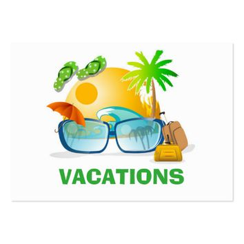 Fun Sunglasses and Luggage Travel Agent Large Business Card