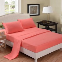 Honeymoon 1800T Brushed Microfiber 4PC Bedding Sheet Set, Sheet & Pillowcase Sets - Queen, Coral