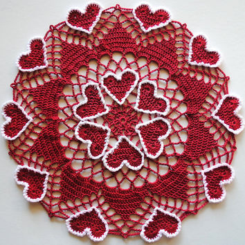 Crochet Valentine's Day doily, red doily with hearts outlined in white