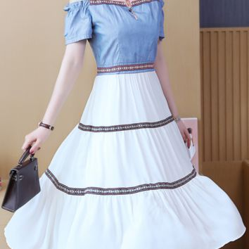 Women's summer chiffon denim patchwork off-the-shoulder dresses