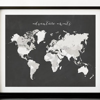 Chalkboard quote print, chalkboard world map with countries, distressed vintage travel art, adventure awaits, diy chalkboard map -map020 D