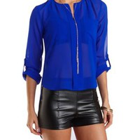 High-Low Buttonless Placket Top by Charlotte Russe