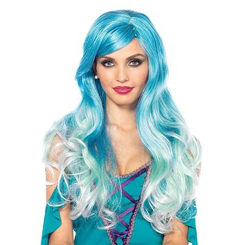 Ombre Blue Mermaid Blend Wavy Long Hair Wig