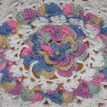 Rose Doily Hand Crocheted Doily with 3-D Pastel Rose