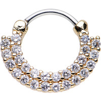 """16 Gauge 3/8"""" Clear CZ Gold IP Double Row of Glamour Septum Clicker 
