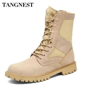 Tangnest NEW Autumn Men's Tactical Boots Casual Platform Rubber Shoes Mid-calf Boots Canvas Desert Boot Man Size 38~45 XMX875