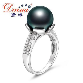 Black Pearl Ring Natural Tahitian Pearl Sterling Silver Ring for women
