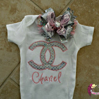 Couture Chanel Baby Boutique Onesuit and Bow
