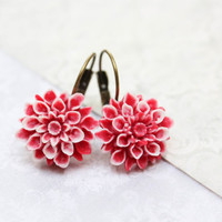 Red Chrysanthemum Earrings Lever Back Lightweight Drop Earrings Resin Flower Vintage Style Red and White Christmas Gift for Her Nickel Free