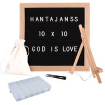 "Felt Letter Board 10x10 Inches. Changeable Letter Boards Include 790 (340 ¾""+ 450 1"") White Plastic Letters, Numbers, Special Characters, Emojis , Symbols, and Punctuation, Sorting Tray, Oak Frame & Easel"