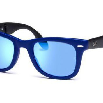 Kalete Ray Ban Sunglasses Folding Wayfarer RB4105 6020/17 Blue Frames Blue Lens 54mm