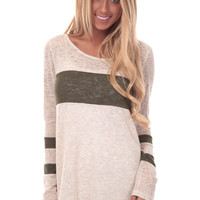 Olive Color Block Detail Tunic Top